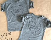 Boy Shirt. Girl shirt. Valentines tshirt. Candy Hearts.