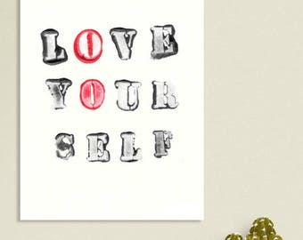 "Instant Download, printable art, scandinavian print, Love yourself print, typography print, quote wall art, quote print art  ""Love yourself"""