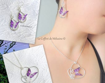 Silver heart with purple and black butterfly earrings and necklace