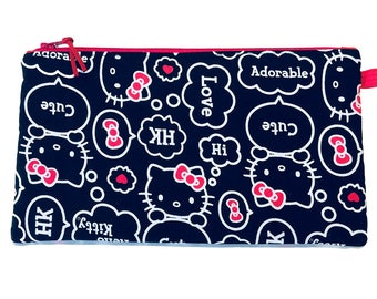 Hello Kitty Multi Purpose Zip Pouch, Makeup Bag, Small Craft Project Bag, Gadget Bag, Pencil Case, Handmade in the UK