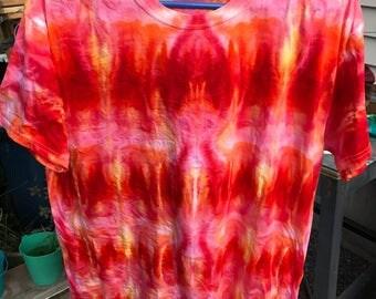 Fire tie dye pattern t-shirt