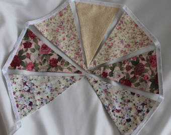 Handmade floral triangle fabric bunting