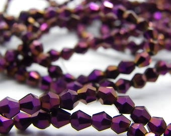 100 glass beads 4 x 4 Burgundy glossy faceted bizones Crystal style