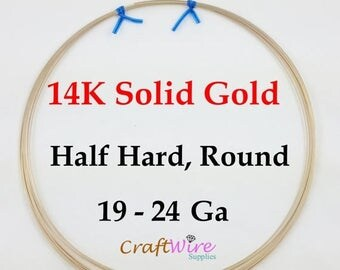 5% OFF 14K Solid Yellow Gold Wire 19 20 22 24 Gauge, Round Half Hard
