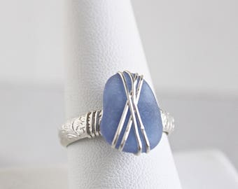 Sea glass jewelry - light blue sea glass ring - sterling silver ring - seaglass ring - gift for her - ocean glass ring - statement ring