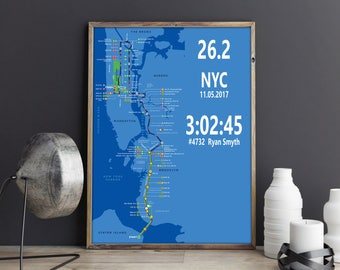 New York Marathon Running Gift NYC Marathon Personalized Time New York Map Print Gift For Runner Gift Marathon Poster Marathon Print