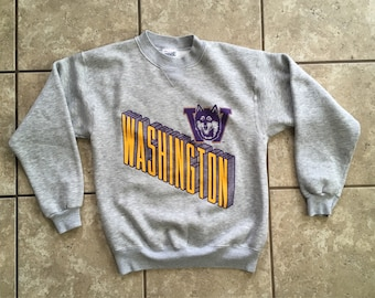 University of Washington Huskies Bike Sweatshier Gray 80's M Made in the USA