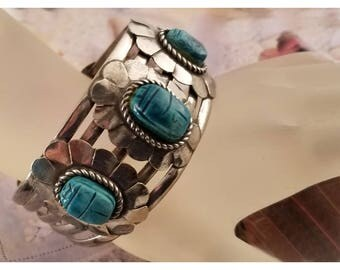 800 Silver Egyptian Revival Scarab Bracelet with Carved Turquoise Faience Beetles