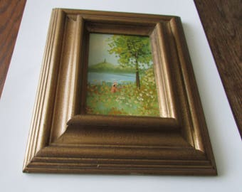 Vintage Oil Painting Girl Field of Flowers Lake Framed