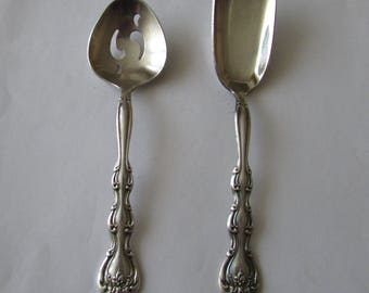 2 Vintage Silver Plate Nut Spoons International Interlude Slotted Tomato Bon Bon Spoon