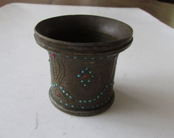 Vintage Brass Jewel Cup Decorated Jeweled