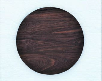 Large Lazy Susan Wood Turntable | Lazy Susan Personalized | Wooden Lazy Susan | Walnut Wood Serving Tray | Round Serving Tray Wooden |