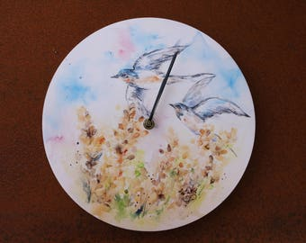 Swallows in a cornfield clock - a print from an original watercolour painting