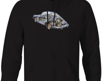 Porsche RHD German Sportscar Original Design Automotive Art Hooded Sweatshirt- 5243