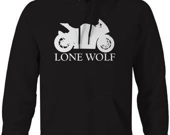Motorcycle - Lone Wolf - Riding Solo Street Bike Hooded Sweatshirt- U221