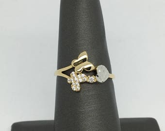14K Two-Tone Gold CZ Butterfly Ring