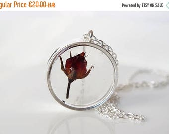 Sale Real flower necklace Rose necklace Terrarium necklace Rosebud pendant Real flower jewelry Pressed flower jewelry mother's day gift for