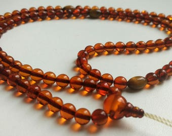 Tiger eye: 108 beads baltic amber mala for meditation (size Ø6), buddhist meditation, guru bead, tiger eye