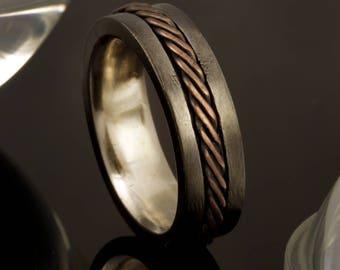 "Men's Wedding Band Comfort Fit, Copper Men's Ring, 8m""m Comfort Fit wedding ring, Hammered Silver Copper Ring, Man's unique Ring, RS-1229"