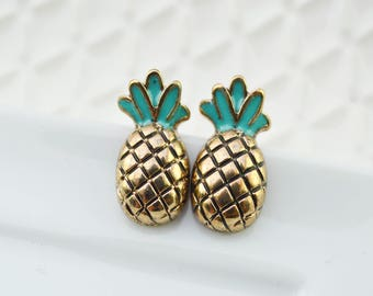 Pineapple ear studs - food jewel - fruit jewel - funky nail - Geek - Rockabilly - fine and delicate earring - gift for her