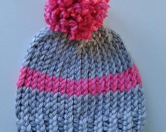 Brooklyn Beanie pink and gray hat baby hat