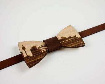 Wood and Leather Bow tie - Cityscape