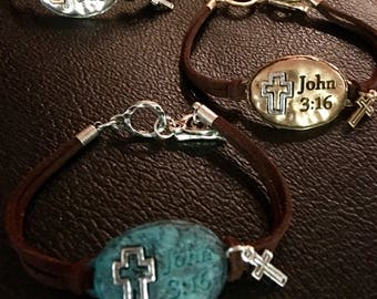 Gold Oval John 3:16 Leather Bracelet