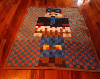 "MineCraft Dan DTM Handmade Quilt 54.5"" Wide x 67"" Long"