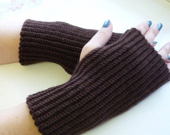 Mittens, knitted mittens, fingerless mittens,  brown gloves, knitted gloves, handmade mittens, gift
