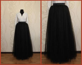 Goth skirt long skirt black wedding black party dress long tulle skirt bridal tulle skirt long gypsy skirt aries birthday 4th anniversary