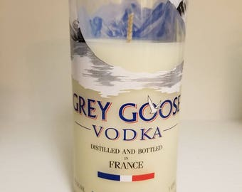 Grey Goose vodka bottle soy candle - liquor bottle candle
