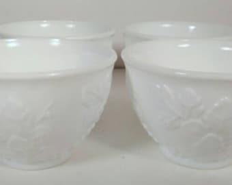 Vintage Milk Glass Grape Pattern Tea Cups set of 4