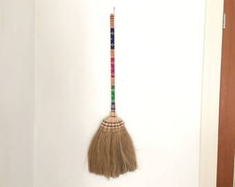 Vintage Broom - Colorful Woven Broom - Hand-Woven Broom - Aztec Wall Art - Boho - Colorful Wicker Broom  - Small Broom - Kitchen  Broom