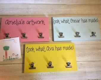 Personalised Childrens Artwork Hanger, Artwork display, Kids masterpiece display - 4 colour options