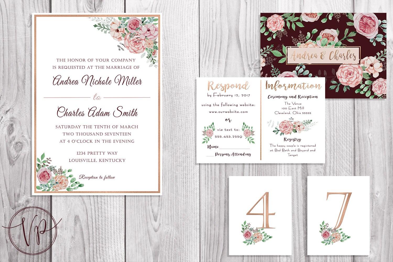 VIntage Floral Wedding Invitation Kit | Romantic | Simple | Rose ...