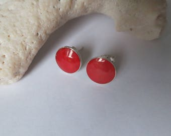 Coral stud earrings, red,round, 92.5 sterling silver