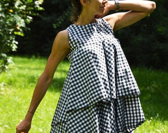 Woman Shepherds Plaid Shirt, Maxi Plus Size Tunic Top, Loose Fit Top, Elegant Shirt, Oversize Summer Shirt by SSDfashion