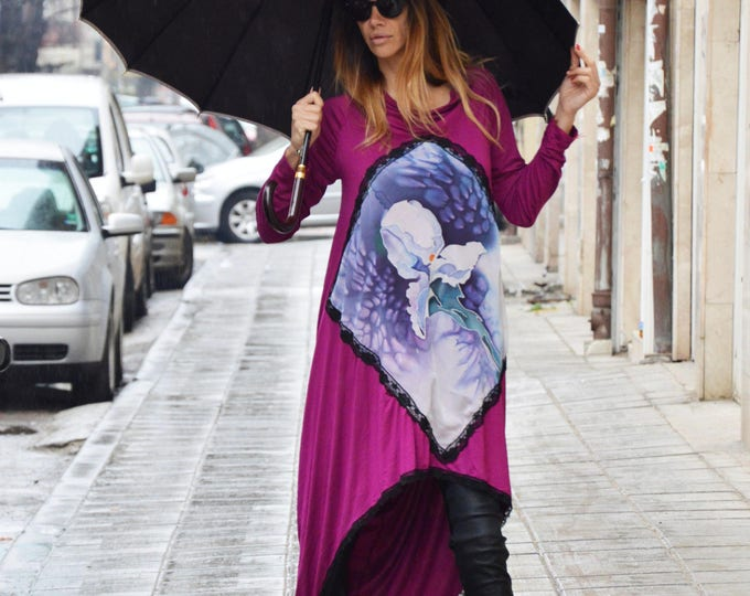Loose Tunic With Hand Painted Flowers, Oversize Dress, Extravagant Long Dress With Lace, Maxi Extravagant Dress by SSDfashion