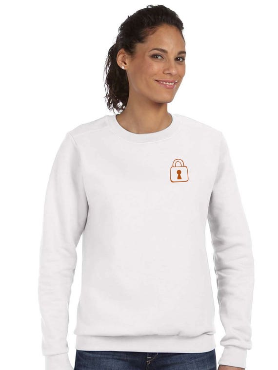Round neck women sweater KEY and PADLOCK
