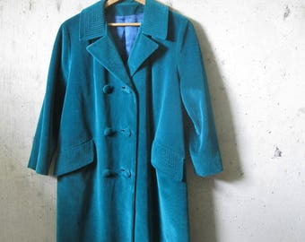 Vintage Velvet Swing Coat Stitch Detail Collar Pocket Emerald Green 1950s 1960s Cotton Rockabilly