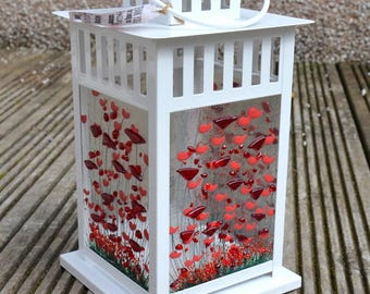 Handmade Fused Glass Art - Poppy Lantern