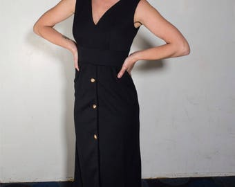 Vintage long black dress with gold button adornments