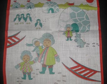 Two Vintage Children's Handkerchiefs, Children From Around The World