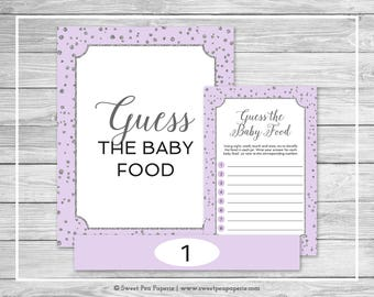 Purple and Silver Baby Shower Guess The Baby Food Game - Printable Baby Shower Guess The Baby Food Game - Purple Silver Baby Shower - SP153