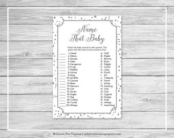 White and Silver Baby Shower Name That Baby Game - Printable Baby Shower Name That Baby Game - White and Silver Confetti Baby Shower - SP154