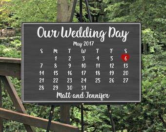 Wedding Welcome Sign Wedding Signs Large Wedding Sign Large Welcome Sign Welcome Wedding Sign Our Wedding Day Calendar Sign