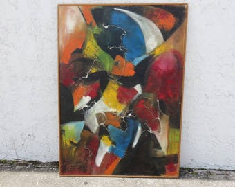 Mid-Century Modern Abstract Oil Painting By Mexican Artist Juan Trujillo, Private Collection, Guadalaraja, Mexico.