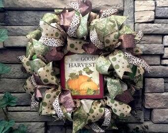 Fall Wreath, Autumn Wreath, Thanksgiving Wreath, Fall Decor, Fall Decorations, Burlap Wreath, Holiday Wreath, Holiday Decor, Pumpkin Wreath