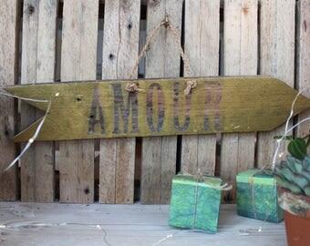 """Love"" wood arrow"