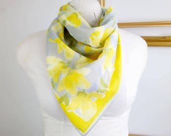 Bright and bold vintage cotton scarf, scarf with yellow flowers, pastel scarf
